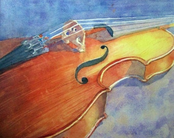 Violin painting, Original Watercolor Painting, Music Instrument Painting - Matted to 14 x 18 inches