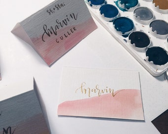 Wedding Blush Water Color Place Cards + Gold Calligraphy - Tented Cards