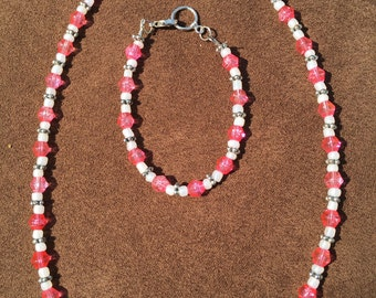 Pink and White Beaded Set