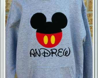 Mickey Mouse hoodie, hooded sweatshirt, applique, personalized, Disney shirt