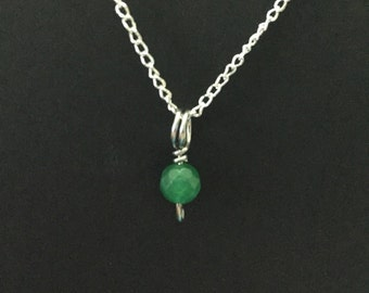 Tiny Emerald Charm Necklace
