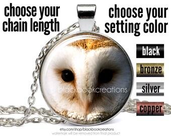 Barn Owl Necklace, Owl Pendant, Owl Face Jewelry, Handmade