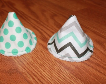 PeePee TeePee Aqua Chevron & Aqua Polka Dot Set of 2