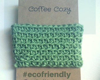 Green Cup Cozy Sage green Cup Sleeve, Crochet Coffee Sleeve, Reusable Coffee Cozy, Eco friendly cup cozy