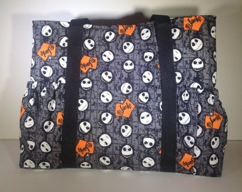 Jack Skellington tote, Nightmare Before Christmas purse, Halloween, Tim Burton carry on, Diaper bag, sleepover bag, goth gift