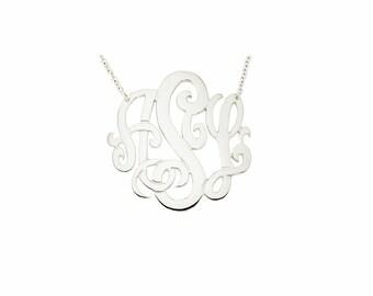 """14W-Mono150 - 14K White Gold 1.5""""  Monogram Necklace"""