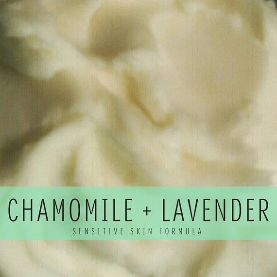 Chamomile + Lavender Whipped Body Butter, Sensitive Skin Formula with Shea Butter and Organic Coconut Oil, Handmade, Small Batch Body Butter