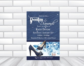 Denim and Diamond Glam Invitation! | Printed Invitations or Printable File
