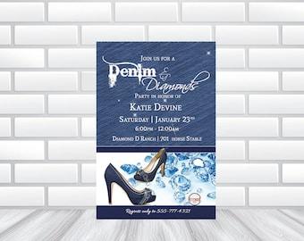 Denim | Diamond Invitation! | Printed Invitations or Printable File