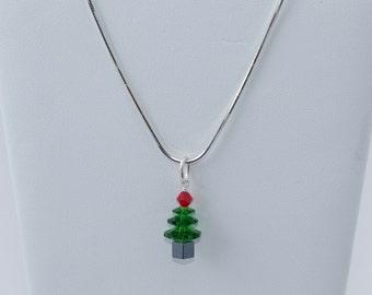 Swarovski Crystal Christmas Tree Sterling Silver Necklace