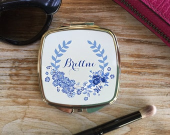 Personalized Mirrored compact, Bridesmaid Gift, Mother of the Bride gift, Mother of the Groom gift, Custom Bridesmaid gift, Blue Floral