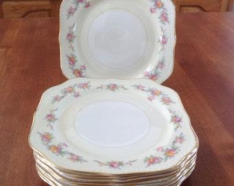 "Four (4) Homer Laughlin 8"" COUNTESS Square Eggshell Georgian Salad / Dessert Plates Gold Trim - 1950's"