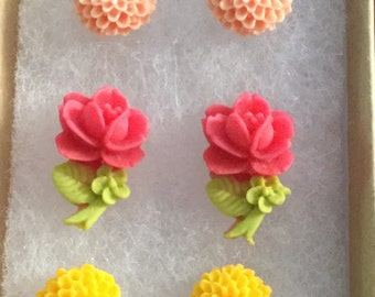 Set of Yellow and Pink Flower stud/post Earrings