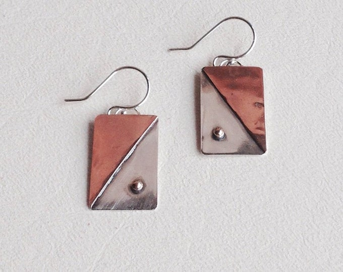 Mixed metal earrings silver, copper, brass geometric