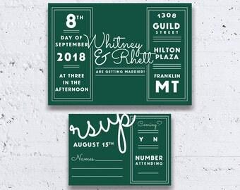 Modern Old Hollywood Wedding Invitation, Emerald Green Wedding Invitations, Casual Wedding Invitations, Printable Wedding Invitations, Retro