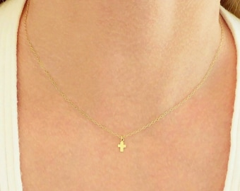 Cross Necklace + Rose Gold Necklace + Gold Cross Necklace + Tiny Necklace + Small Cross Necklace + Baptism Gift + Cross Initial Necklace +M3