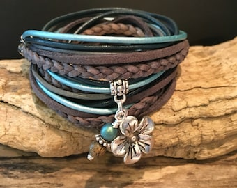 Wrap Bracelet,Boho Wrap Bracelet,Braided leather Charm Bracelet, Grey, Blue,Leather, Suede, custom Wrap Bracelet,Leather Bracelet,