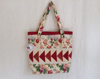 Patchwork bag, quilted bag, sewing bag, carry bag, tote bag ROSES