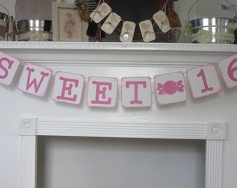Sweet 16 Birthday Banner Pink Sweet 16