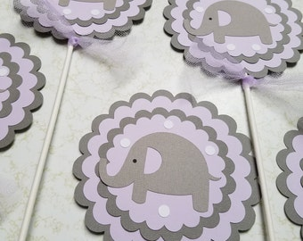 Elephant centerpiece sticks, elephant baby shower, , elephant decorations, girl elephant banner, elephant party, elephant its a girl