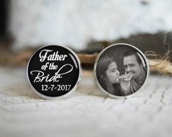Father of the bride personalized photo cufflinks, cool gifts for men, custom wedding silver plated or black cuff link