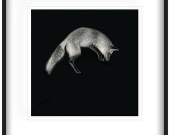 LEAPING FOX - 'Pounce' - Limited Edition Print on archival quality watercolour paper