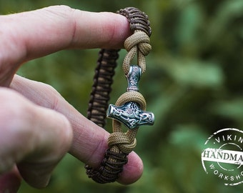 Paracord Bracelet with Silver Plated Bronze Thor's Hammer Viking Amulet Scandinavian Norse Jewelry
