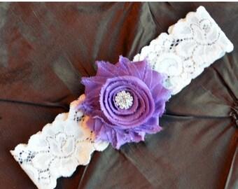 Wedding Garter, Bridal Garte,r Ivory Lace Garter, Toss Garter, Wedding Garter Belt, Toss Garter, Purple Garter
