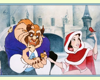 Hard to Find  Beauty and the Beast Belle  Walt Disney 11x14 Double Matted Fine Art  Giclee Print