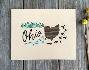 Rustic State Art, Ohio Art Print, Ohio Map Print