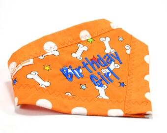 Birthday Dog Bandana  - Clip on & Reversible Dog Scarf - Birthday Pet Accessories
