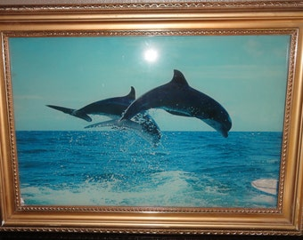 Vintage  Dolphins Jumping Motion and Lighted Sound Picture