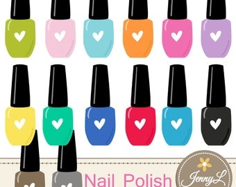 Nail Polish Clipart for Planners, Digital Scrapbooking, Invitations, cupcake toppers, Stickers, Labels