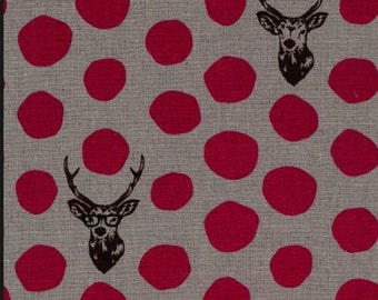Echino Etsuko Furuya for Kokka Buck with Sunglasses and Pink Dot on Grey Background One Half Yard.