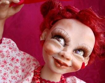 "Art Doll OOAK, cottage girl ""Red Ruby"", handmade smiling doll, red dancing girl, art figurine, interior doll"