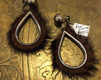 Vintage Fur Screw Back Earrings