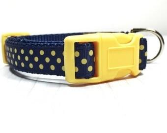 Michigan Dog Collar / Michigan Wolverines / Maize and Blue / Dog Collar / Dog Leash / Dog Collar and Leash / Blue / Yellow / Polka Dots
