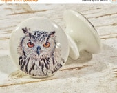 ON SALE Handmade Knobs Drawer Pulls, Owl Bird, 1.5 Inch Cabinet Pull Handles, Dresser Knob Pulls, We Make Customized Orders