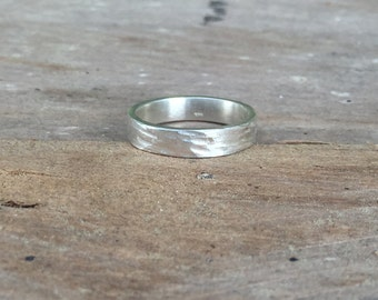 Hammered Sterling Silver Ring, Hammered Band Ring