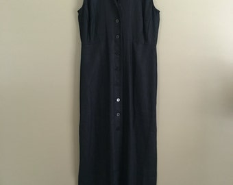 Vintage Black Linen Button Up Dress Size 0