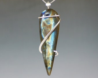 Labradorite Large Inverted Teardrop Cold Forged Sterling Silver Pendant