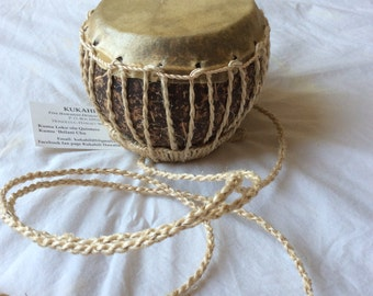 Hawaiian Knee Drum Puniu Kilu Kuliouou Coconut Jut fibers Rawhide Hula Kahiko