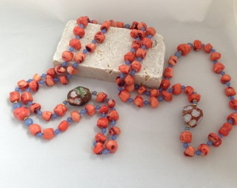 Coral, Agate, Chalcedony Necklace
