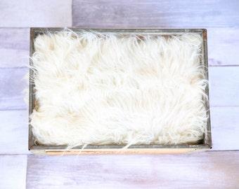 "Ivory Faux Fur Basket Filler - Soft Basket Stuffer, Newborn Photography, Basket Prop, Soft Fur Prop, Faux Fur, Baby Girl Boy - 23"" W x19"" H"