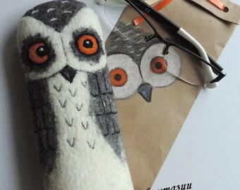 Felted glasses case, Wool glasses case, Felt glasses case, Eyeglass case, Felted owl, Sunglasses case, Case for glasses