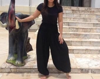 Ladies Harem Pants Leggings Smocked Baggy Genie Yoga Black