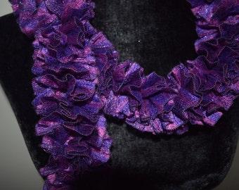 Purple Jewel-Toned Scarf, Ruffle Scarf