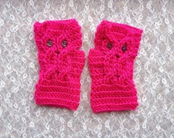 Owl Mittens, Fingerless Owl Mittens, Owl Fingerless Mittens, Crocheted Mittens, Boho Crocheted Owl Mittens, Bohemian Fingerless Mittens