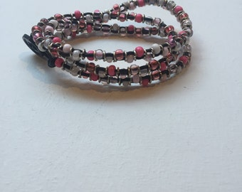 Pink leather beaded wrap bracelet