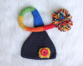 Newborn Rainbow Baby Crochet Elf Hat Boy Girl Pom Pom Striped Photography Prop Infertility